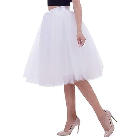 Huisongda Falda de Tul Mujer Tutu Faldas Plisadas Cintura Alta ...