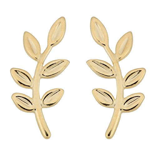 14k Yellow Gold High Polish Olive Branch Earrings 14k Yellow Gold Leaf Earrings