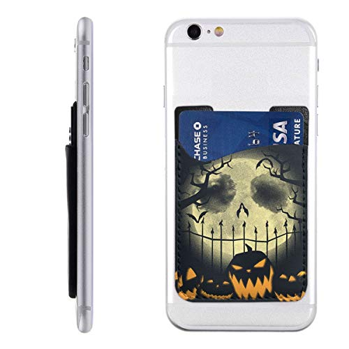 Hallowee Pumpkin Cell Phone Card Holder for Back of Phone Stick On Card Wallet Sticker ID Credit Card Wallet Phone Case Pouch Sleeve Pocket Compatible for iPhone/Android/Samsung Galaxy]()