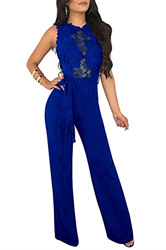 Symina Womens Casual Mesh See Through Lace Bodycon Jumpsuits High Waist Wide Leg Long Pants Rompers Belt, Blue, X-Large (Belted Belt Lace)