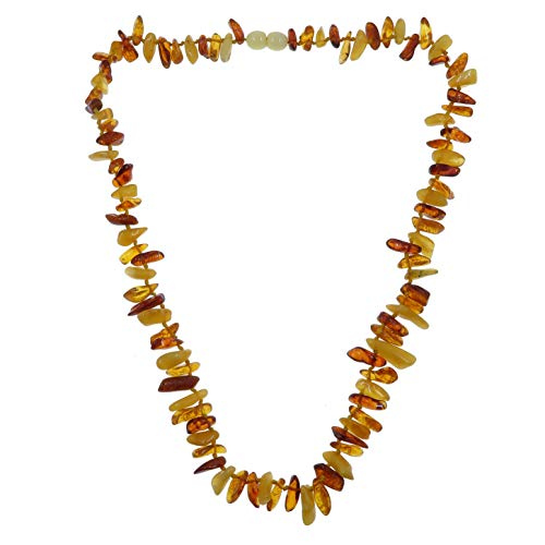 Amber Necklace Boutique Multi-Colored Yellow Orange Red Authentic Baltic Gemstone Knotted Lithuanian B09 ()