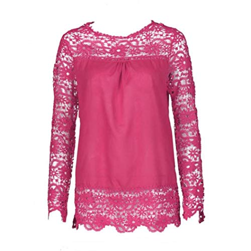 Women Plus Size Hollow Out Lace Splice Long Sleeve Shirt Casual Blouse Loose Top(hot red,Medium) by iQKA (Image #1)