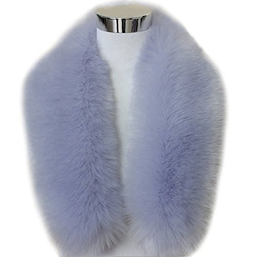 Blue Fox Fur Scarf (ZEAYEA Winter Warm Faux Fox Fur Collar Scarf Shawl Collar Women's Wrap Stole Scarves (Medium(80cm), Grey Blue))