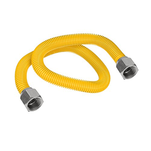Flextron FTGC-YC38-72 70'' Flexible Epoxy Coated Gas Line Connector with 1/2'' Outer Diameter and Nut Fittings, Yellow/Stainless Steel by Flextron
