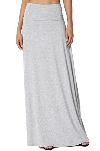 TheMogan Women's Casual Solid Draped Jersey Relaxed Long Maxi Skirt Heather Grey 2XL ()