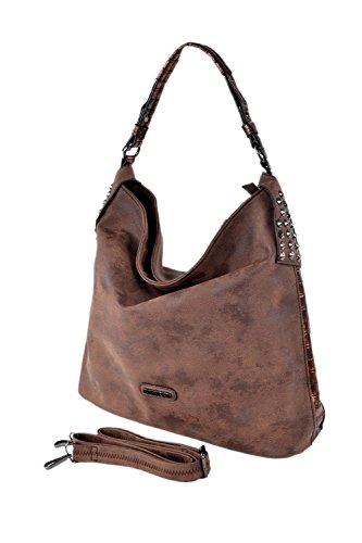 CHARRO Urban Style borsa secchiello a mano tracolla testa di moro con borchie