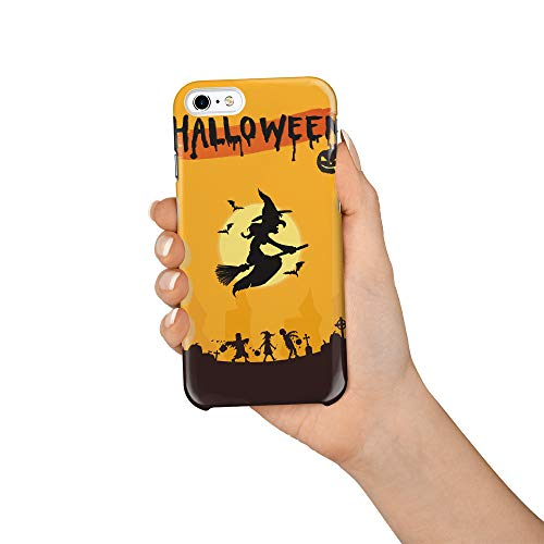 Durable Phone Case for iPhone 6/iPhone 6s, Halloween Witch and Zombie Stylish Phone Shell Shockproof Protective Back Cover with Tempered Glass Screen Protector, -