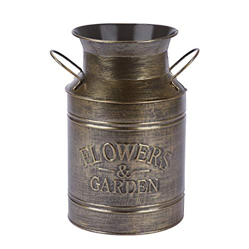 Saclife 8.5 High Shabby French Style Galvanized Milk Can Country Primitive Vase - Rustic Decorated for Living Room, Bedroom, Kitchen (Gold)