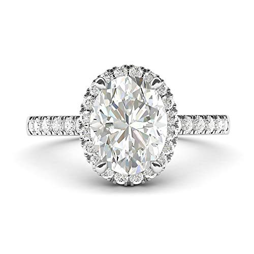 14k White Gold Simulated Oval Cut Diamond Halo Engagement Ring with Side Stones Promise Bridal Ring (8)