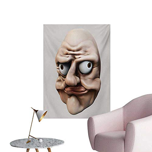 Anzhutwelve Humor Wallpaper Grumpy Internet Troll Face with Trippy Gestures Ugly Post Meme Joke ImageEgg Shell and Tan W32 xL36 Poster Print -