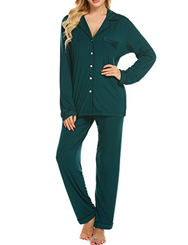 Ekouaer Women's Sleepwear Jersey Long Sleeve Button-up Pjs Top and Long Pants (Green,S)