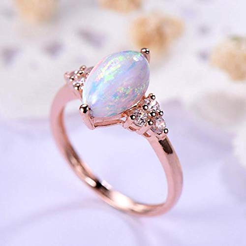 (Solid 14k Rose Gold Marquise Shape Cut Opal Engagement Ring Cluster CZ Diamond Wedding Rings Antique Birthstone Bridal Set Women Anniversary Gift Unique Retro Jewelry Promise)