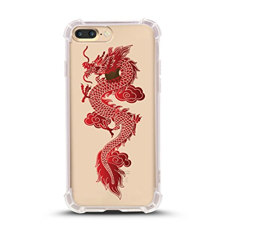 iPhone 8 PLUS case, with Shock Absorbent (5.5 inch screen), Flying Dragon Design (Compatible with iPhone 8 PLUS ONLY, not iPhone 8) -