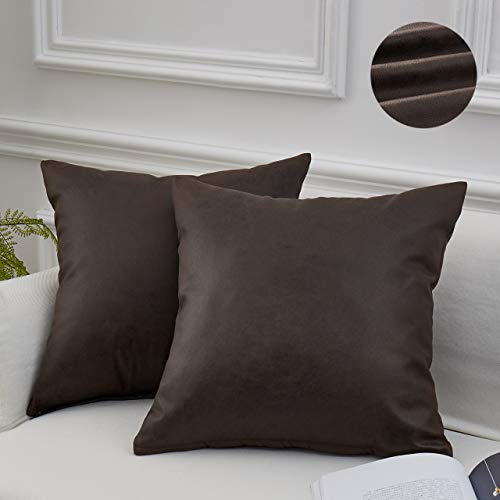 MoMA Decorative Faux Leather Throw Pillow Covers (Set of 2) - Pillow Cover Sham Cushion Cover - Throw Pillow Cover for Couch Sofa Bed Living Room - Square Decorative Pillowcase - Dark Brown - 18