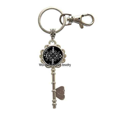 Fashion papa legba Voodoo Key Key Ring Ritual Altar Key Key Ring Occult Medallion Key Key Ring Key Keychain Jewelry,PU195 -