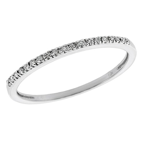 .06 cttw White Diamond 14K White Gold Wedding Band Ring Size 7