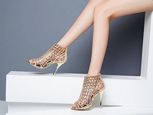 Littleboutique Embellished Cutout High Heel Bootie Rhinestone Studded Sandal Heels Dress Sandal gold 8