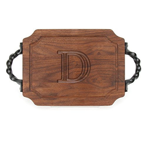 - BigWood Boards W300-STWS-D Bar/Cheese Board with Twisted Square End Handle with Scalloped Corners, 9-Inch by 12-Inch by 0.75-Inch, Monogrammed