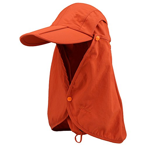 Cido Capllov Unisex Outdoor Sport 360 Degree Quick-drying UV50+ Protection Cap with Removable Sun Shield and Mask Perfect for Fishing Hiking Garden (Orange) ()