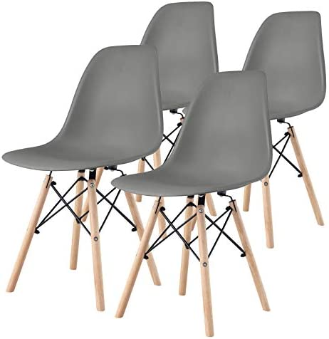 4 Pieces Modern Style Classic Design Plastic Chair and Wood Leg