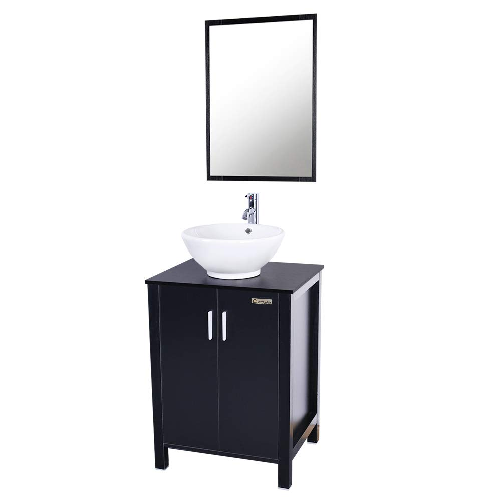 Eclife 24'' Modern Bathroom Vanity And Sink Combo (Updates) Stand Cabinet and White Round Ceramic Vessel Sink with Overflow and Chrome Bathroom Solid Brass Faucet and Pop Up Drain and Mirror A6B4 Eclife4561