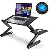 """Folding laptop stand desk 23.2"""" Adjustable Laptop Stand for bed Lap Desks Laptop table Portable with Cooling & Fan Mouse Pad Lightweight Portable Bed Sofa Couch Lap Tray Compatible with Tablet Notebook MacBook"""
