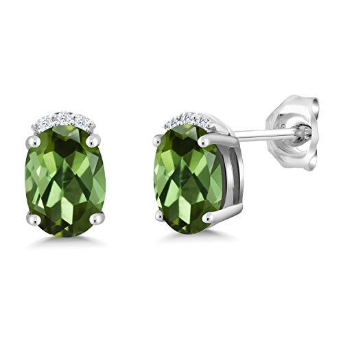 Gem Stone King 1.48 Ct Oval Green Tourmaline 925 Sterling Silver Earrings