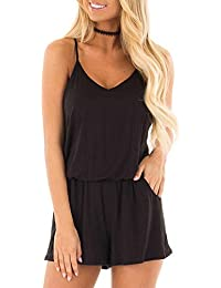 Womens Summer Loose V Neck Spaghetti Strap Short Jumpsuit...