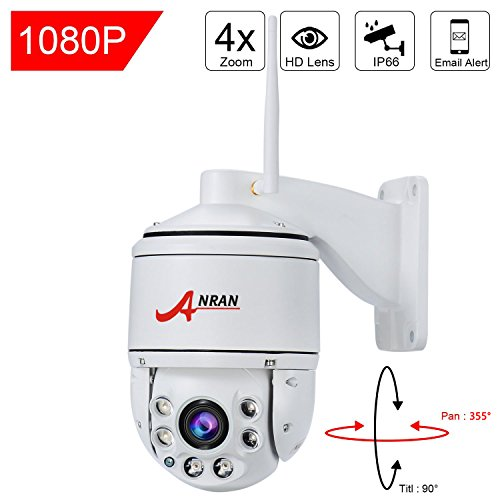 ANRAN PTZ Wireless Surveillance IP Camera 1080P HD Wifi 4×Optical Zoom Auto Focus High Speed Dome Home Security System Outdoor Waterproof 355°Pan90°Tilt, Night Vision,Remote View,with 16GB SD Card (Ptz Network Cam)
