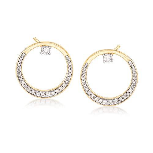 (Ross-Simons 0.50 ct. t.w. Diamond Open-Circle Drop Earrings in 14kt Yellow Gold)