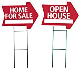 HOME FOR SALE and OPEN HOUSE Arrow Shaped Sign Kit - (includes 1 of each sign and 2 stakes) (Red)