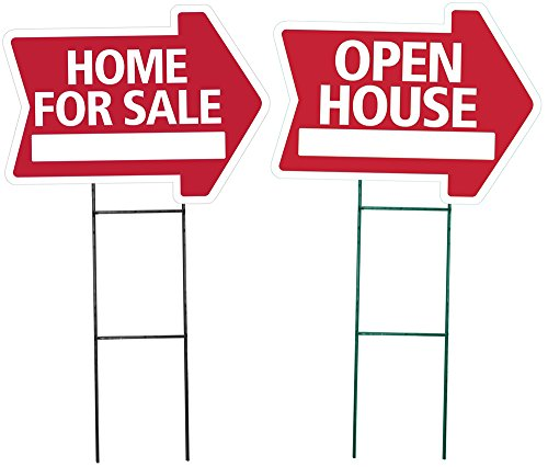 HOME FOR SALE and OPEN HOUSE Arrow Shaped Sign Kit -