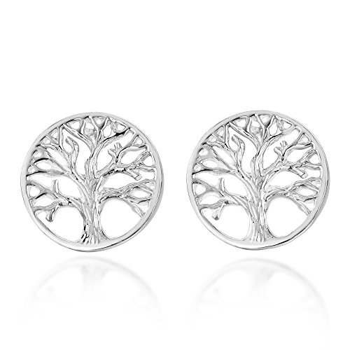 (Beautiful Round Filigree Tree of Life .925 Sterling Silver Stud Earrings)