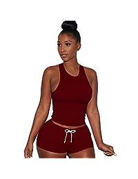 SJLee Tracksuit Vest Short 2 Piece Set Women Sleeveless Split Pants Casual Outfit Sportswear