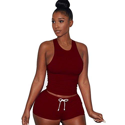 VICCKI Women Sleeveless Split 2 Piece Set Casual Short Pants Casual Outfit Sportswear ()
