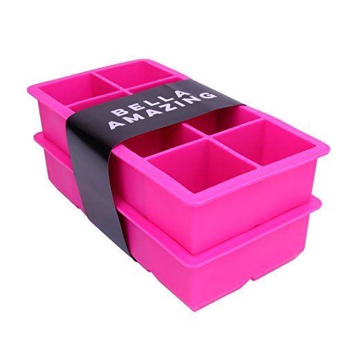 Bella Amazing Big Silicone Ice Cube Mold, Set of 2 Extra Large Square Ice Trays, Giant 2 Inch Rock Ice Cubes, Pink