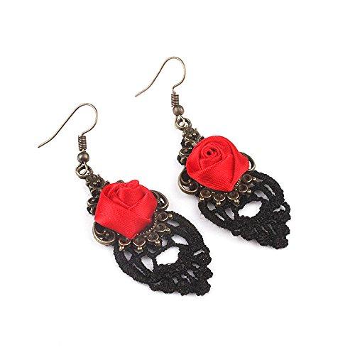 Joyfeel buy Dentelle Rose Boucles doreilles Pendentif, Boucles doreilles Motif Romantique,Fait /à la