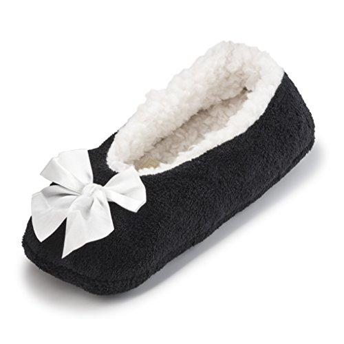 Pantoufles De Maison De Bande Dessinée Floue De Molleton De Maison Pour Des Femmes W / Doublure De Sherpa | Ballerine Confortable Chaussures Dintérieur Noir