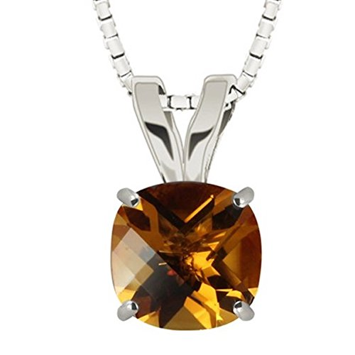 Citrine Cushion Necklace - Sterling Silver 8mm Checkerboard Cushion Citrine Pendant with 18