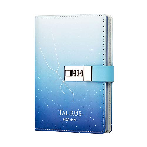 (Lock Journal 12 Constellation Leather Writing Notebook Diary Personal Organizer 113 Sheets Starry Sky Paper Design Diary(Taurus))