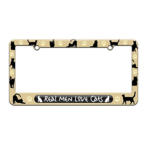 Real Men Love Cats - License Plate Tag Frame - Cat Silhouettes Design