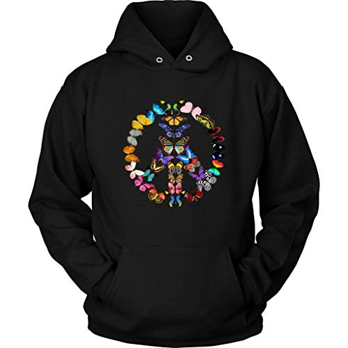 (Peace Sign Hooded Sweatshirt - Butterfly Hoodie - 70s Hippie Long Sleeve - Plus Size Up to 5X)