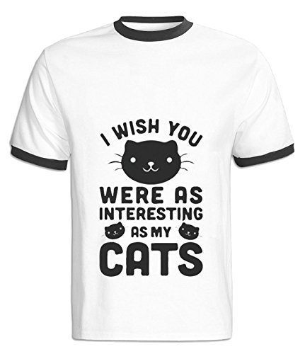 Fatal Decision Men's I wish you were as interesting as my cats Funy Apprael black