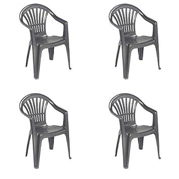 greenazur - 4 sillas de jardín sillones Altea plástico ...