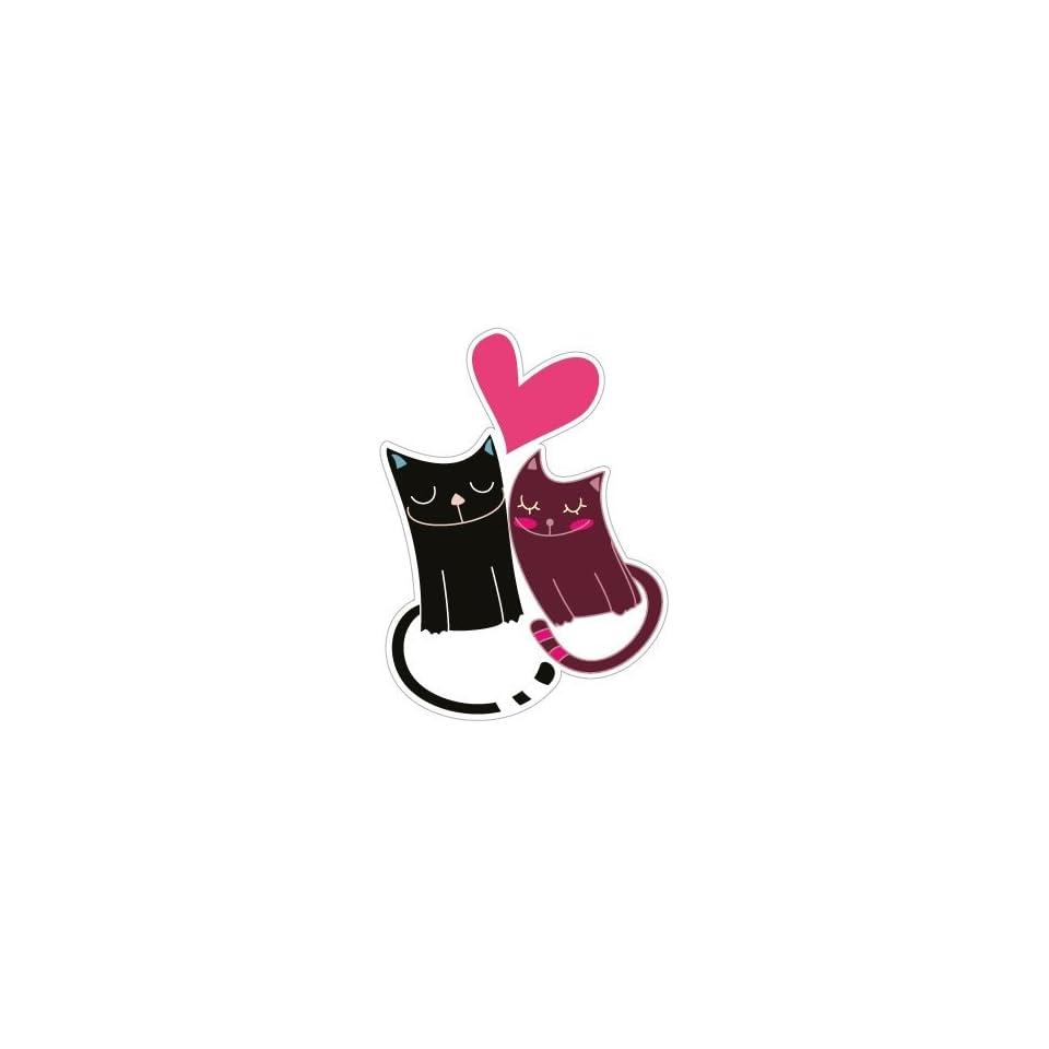 Love between cats car bumper sticker decal 4 x 5