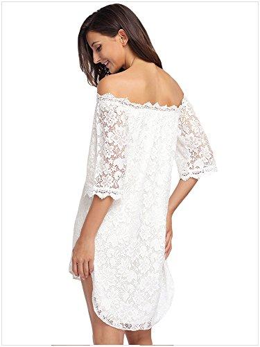 Wedding Elegant Hem Off Designer97 Asymmetric Party Long White Short Women's Size Shoulder Dress Lace Plus Sleeve qZZES8dxw