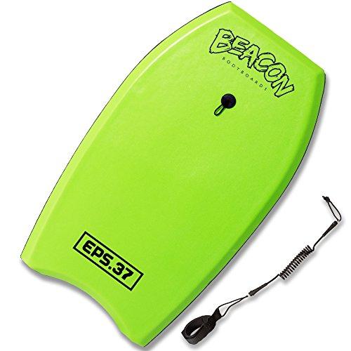 Play Platoon BEACON BODYBOARDS 37 Inch Bodyboard with Wrist Leash, EPS Core, and Slick Bottom - Green Body Surfing Board