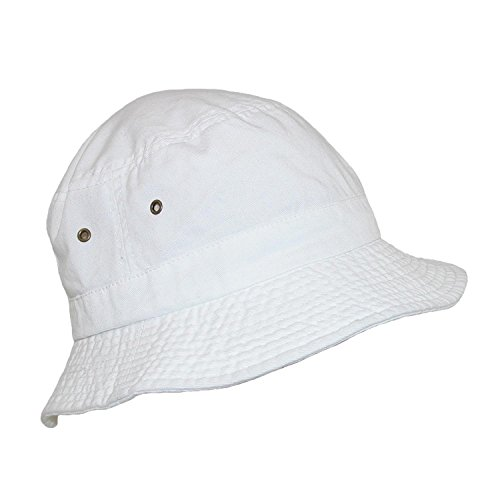 Dorfman Pacific Cotton White Crushable Summer Sun Bucket Hat, Small/Medium, (Crushable Bucket Hat)