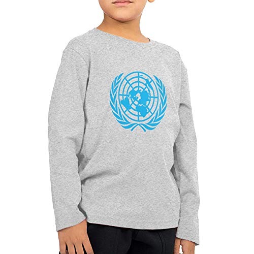 Unisex Baby United Nations Logo Toddler's Long Sleeve Round Neck Casual Pullover T Shirt for Kid (Boys Girls) Gray