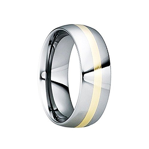 18k Yellow Gold Inlay - EGNATIUS Tungsten Carbide Wedding Ring with 18K Yellow Gold Inlay & Polished Finish - 6mm & 8mm